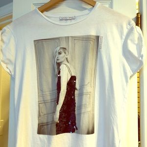 Zara WB collection white sequinned t shirt